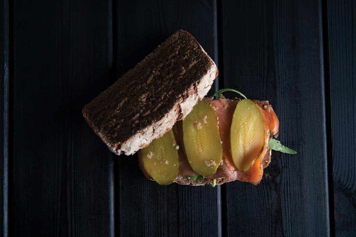Dark rye bread with salmon
