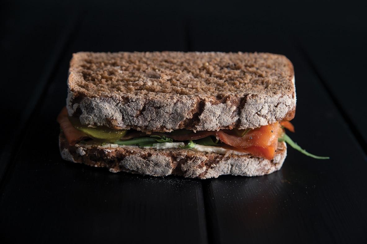 Dark rye bread with salmon